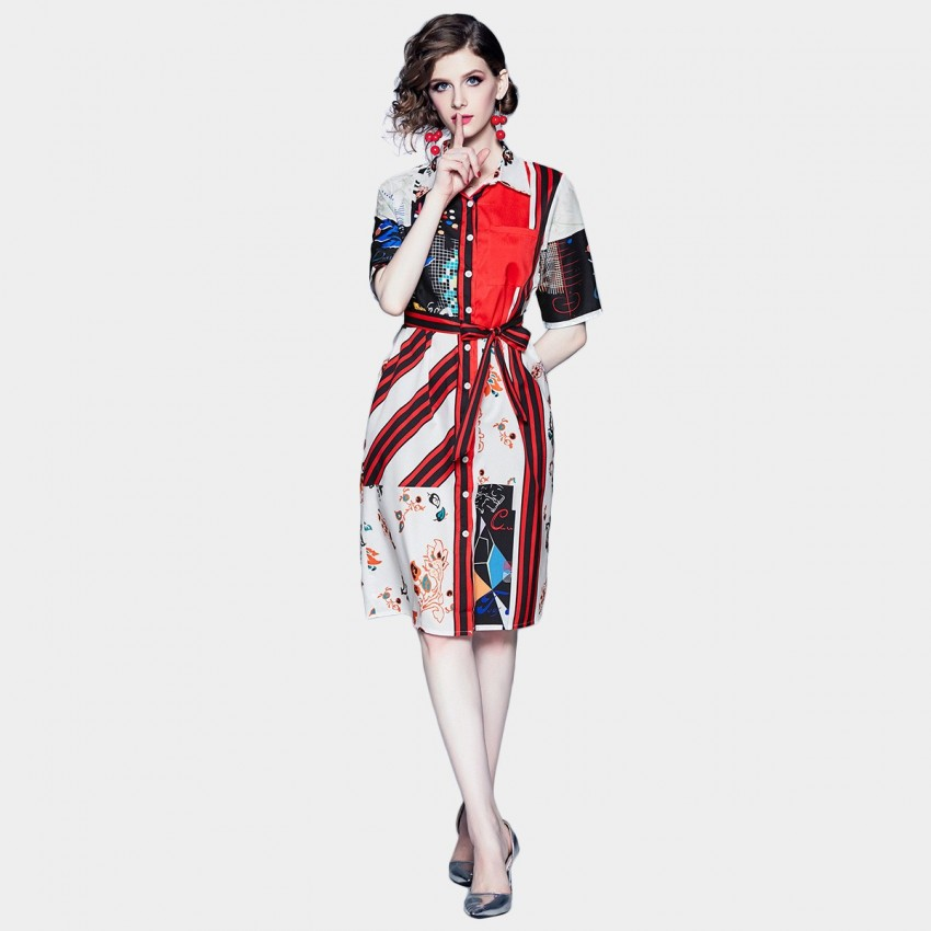 Buy DZA Abstract Print Red Shirt Dress online, shop DZA with free shipping