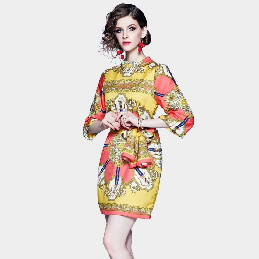 Buy DZA Printed Yellow Scarf Dress online, shop DZA with free shipping