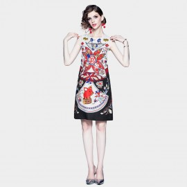 DZA A Touch of Red Printed Sleeveless Dress (58139)