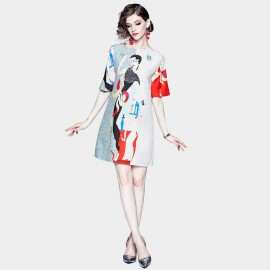 DZA Mystery Woman Abstract Floral Tee Dress (58142)
