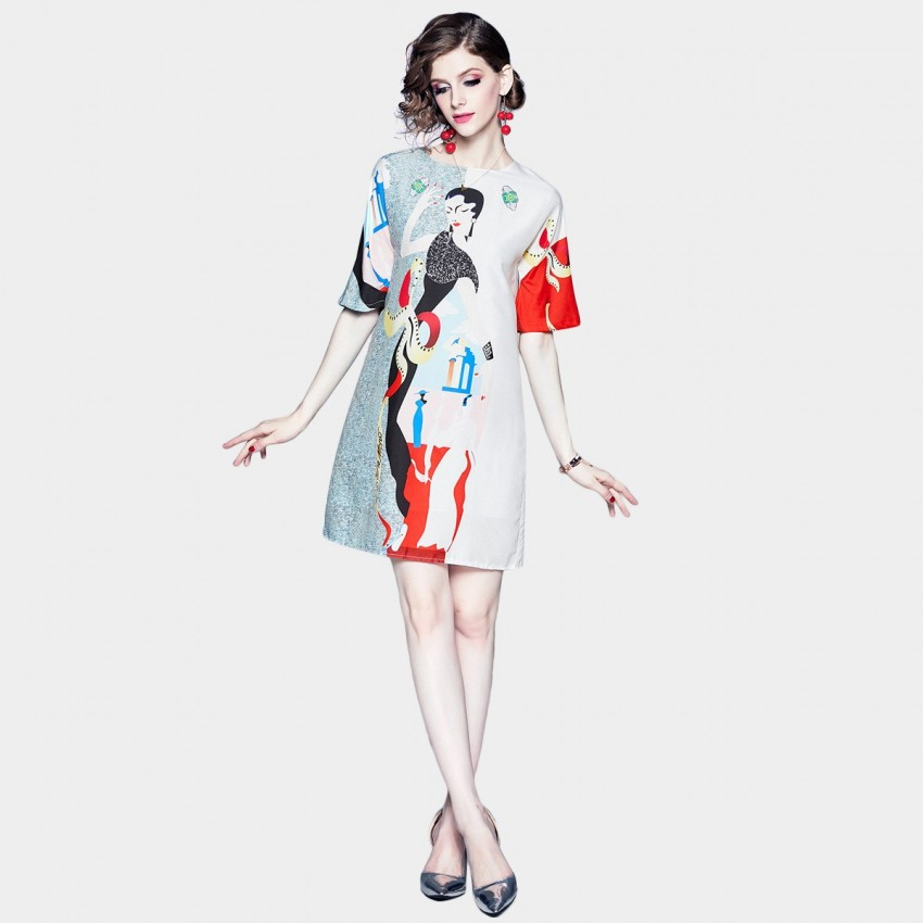 Buy DZA Mystery Woman Abstract Floral Tee Dress online, shop DZA with free shipping