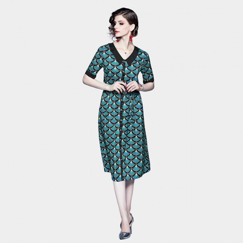 DZA Fan Print Green Shirt Dress (58146)