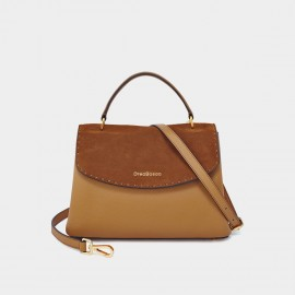 Dreabassa Brown Suede Foldover Top Handle Bag (Dr-18056880)