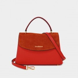 Dreabassa Red Suede Foldover Top Handle Bag (Dr-18056880)