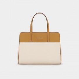 Dreabassa Brown and Cream Top Handle Bag (Dr-18068080)
