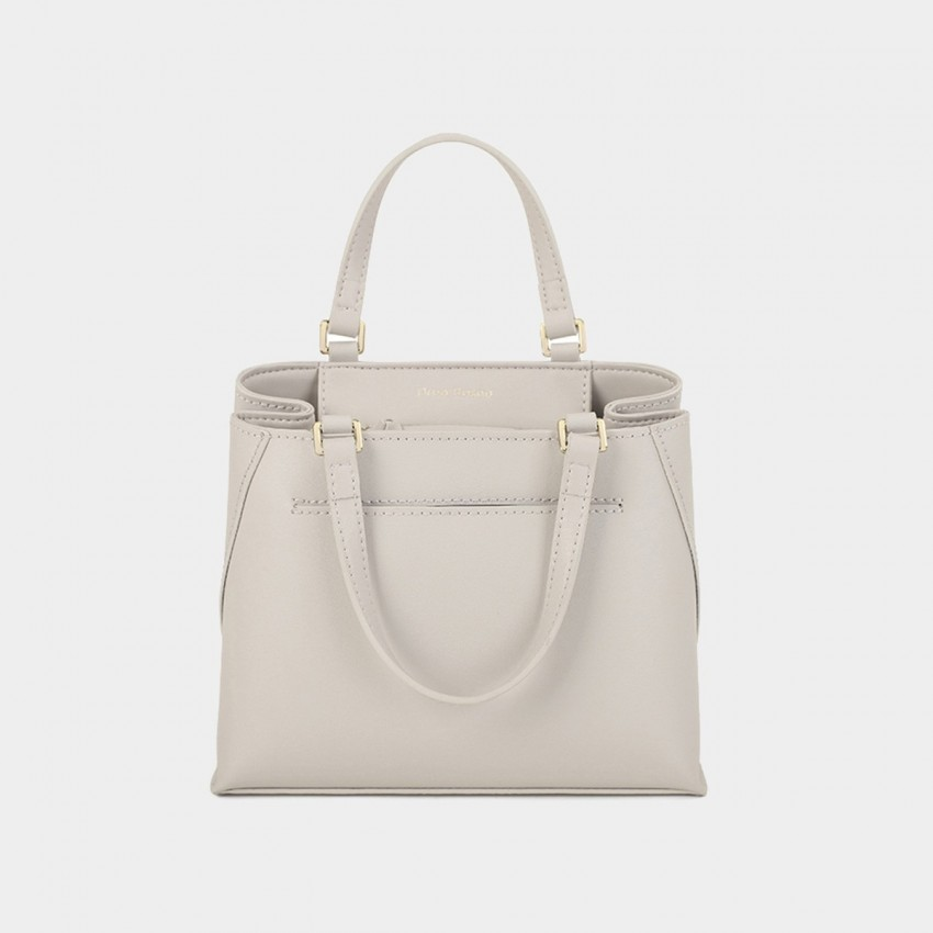 Dreabassa Smooth Leather Blush White Top Handle Bag (Dr-1906D134)