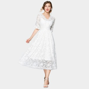 ZOFS V-Neck White Lace Midi Dress (79011)