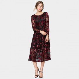 ZOFS Sheer Lace Wine Midi Dress (79012)