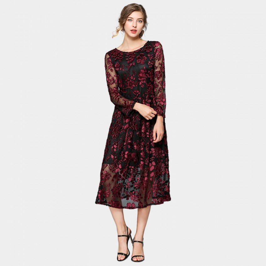 Buy ZOFS Sheer Lace Wine Midi Dress online, shop ZOFS with free shipping