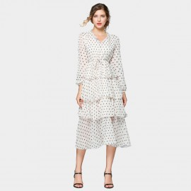 ZOFS Layered Apricot Polka Dot Dress (79016)