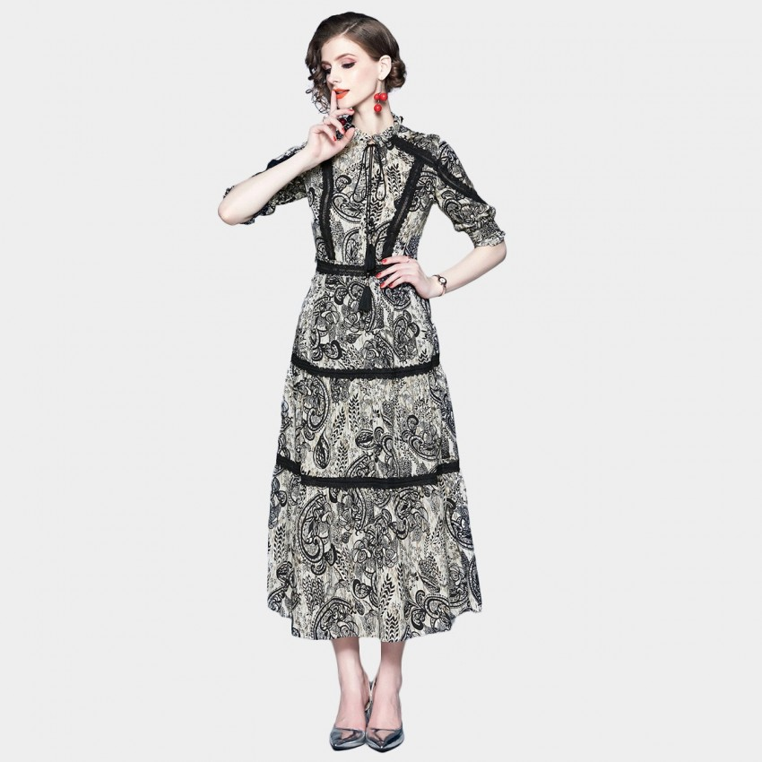 Buy ZOFS High Neck Black Printed Dress online, shop ZOFS with free shipping