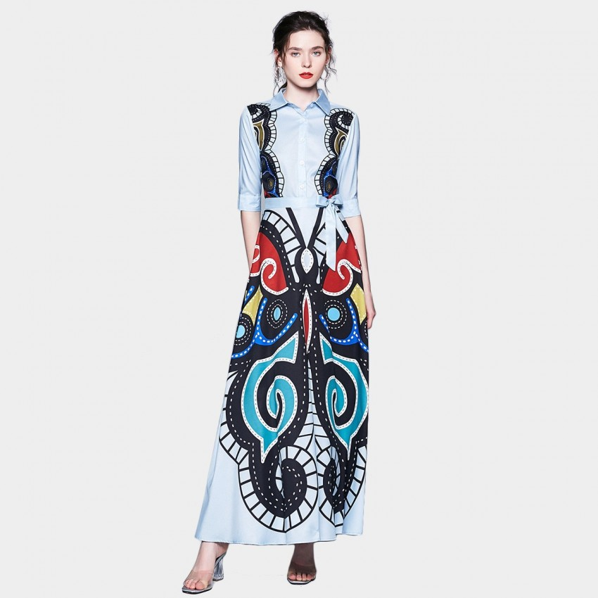 Buy ZOFS Bold Butterfly Blue Shirt Dress online, shop ZOFS with free shipping