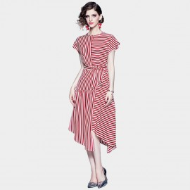 ZOFS Asymmetrical Stripey Red Dress (79033)