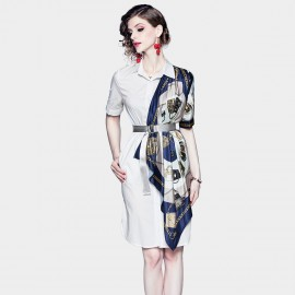 ZOFS White Scarf Shirt Dress (79035)