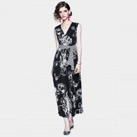 ZOFS White Rose Black Jumpsuit (79036)