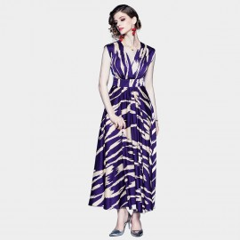ZOFS Printed Purple Maxi Dress (79039)