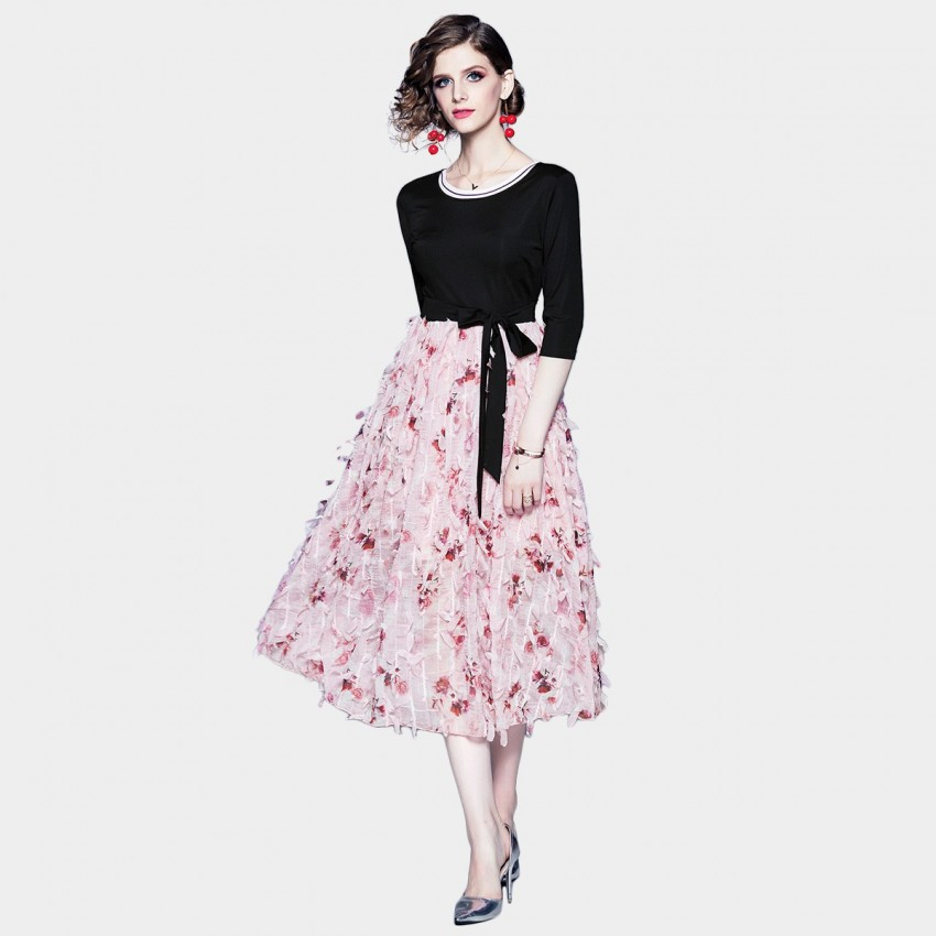 Buy ZOFS Pretty in Pink Textured Skirt Dress online, shop ZOFS with free shipping