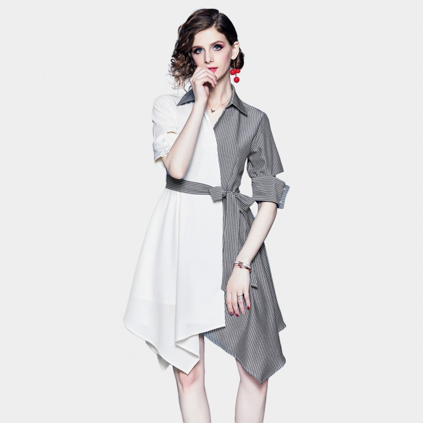 Buy ZOFS Asymmetrical White Stripe Shirt Dress online, shop ZOFS with free shipping