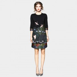 ZOFS Flock of Birds Black Mini Dress (89024)