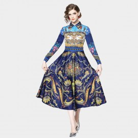 ZOFS Work of Art Printed Navy Shirt Dress (89095)
