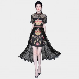 ZOFS Ruler of the Crown Black Lace Overlay Dress (89138)