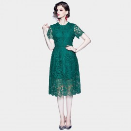 ZOFS Scalloped Hem Emerald Green Lace Dress (89140)