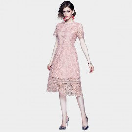 ZOFS Scalloped Hem Blush Pink Lace Dress (89140)
