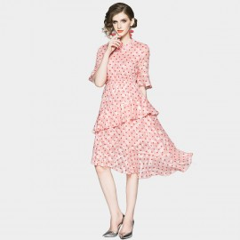 ZOFS Tiered Layer Spotty Pink Dress (89151)