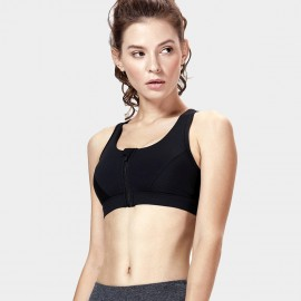 CRZ Yoga Impact Zip Front Black Crop Sports Bra (H143)