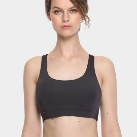 CRZ Yoga Minimalist Cross Back Charcoal Crop Bra (H146)