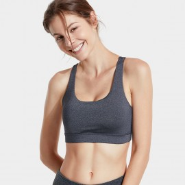 CRZ Yoga Minimalist Cross Back Grey Crop Bra (H146)