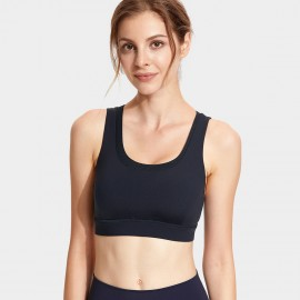 CRZ Yoga Double Layer Racerback Black Sports Bra (H155)