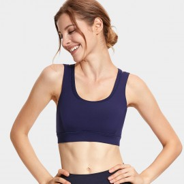 CRZ Yoga Double Layer Racerback Navy Sports Bra (H155)