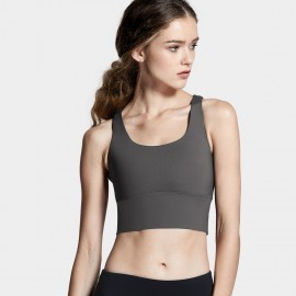 CRZ Yoga Longline Cross Back Charcoal Sports Bra (H160)