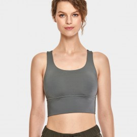 CRZ Yoga Longline Cross Back Grey Sports Bra (H160)