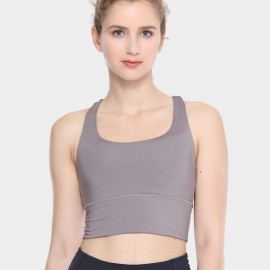 CRZ Yoga Longline Cross Back Khaki Sports Bra (H160)