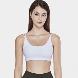 CRZ Yoga Cross Mesh Back White Sports Bra (H162)