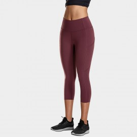 CRZ Yoga Crop Wine Leggings (R432)