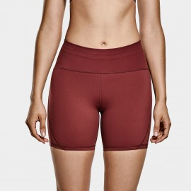 CRZ Yoga High Waisted Maroon Bike Shorts (R416)