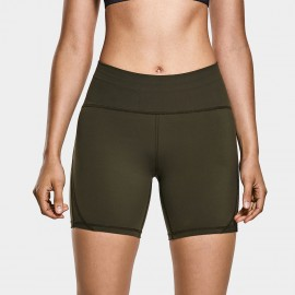 CRZ Yoga High Waisted Olive Bike Shorts (R416)