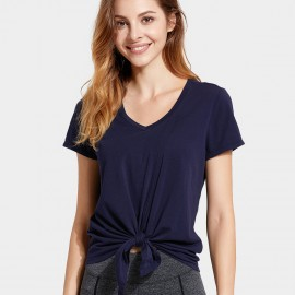 CRZ Yoga Knot Front Navy Tee (R750)