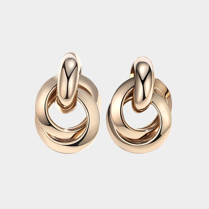 Caromay Circle Loop Pendant Gold Earrings (E3967)