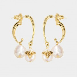 Caromay Bee On The Pearl Champagne Gold Earrings (E5224)