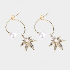 Caromay Collected Maple Leaves Champagne Gold Earrings (E5433)