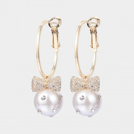 Caromay Bow Pearl Champagne Gold Earrings (E5636)