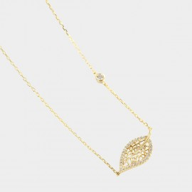 Caromay Falling Hollow Leaf Champagne Gold Necklace (X1934)
