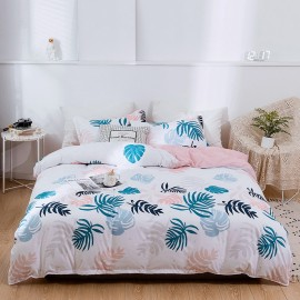 AIX Tropical Leaf Print White Duvet Cover Set (A1907021)