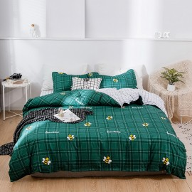 AIX Beautiful Bees Green Check Duvet Cover (A1907027)