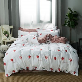 AIX Strawberry Check Print White Duvet Cover (B1907001)