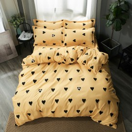 AIX Love Heart Print Yellow Duvet Set (B1907004)